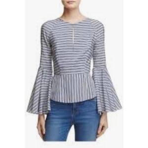 Milly Blue Striped Crew Neck Blouse Size 2